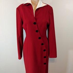 Vintage red Tahari art deco long sleeve dress